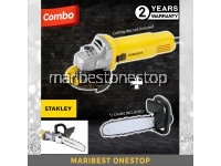 "COMBO CHAINSAW (2 CHAIN) & STANLEY SG6100 SLIMLINE 620W SMALL ANGLE GRINDER 4"" 12000RPM CABLE 2.3M STGT5100 REPLACEMENT"