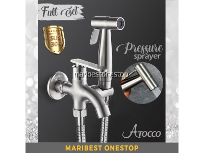 569 FULL SET 304 Stainless Steel Two Way Tap Bathroom Faucet with Bidet Spray Holder and Flexible Hose