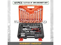 SATAGOOD G-10008 61PCS ½  &  ¼ Dr Socket Ratchet Combination Spanner Wrench Set Repair Tool Kit