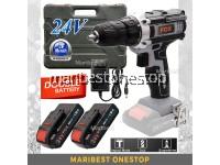 FOX 24V (GREY) Cordless Hammer Impact Drill Screwdriver 2 LI-ION Lithium Battery