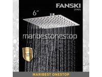 6 Stainless Steel Shower Head Rainfall Shower Head Ultra Thin Large SQUARE SHOWER HEAD ONLY