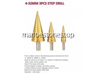 3PCS HSS STEEL STEP CONE DRILL BIT HOLE CUTTER TITANIUM COATED 4-32MM 4-20M 4-12MM POWER TOOLS ACCESSORIES
