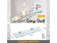50CM BATHROOM GLASS SHELF RACK ORGANIZER HOLDER WALL-MOUNTED