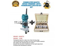 3709 MAKITA WOOD TRIMMER 530W COMBO WITH ROUTER BIT SET