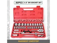 SATAGOOD G-10013 32PCS ½ Dr 6/12 Point Socket Ratchet Extension Bar Set Repair Tool Kit