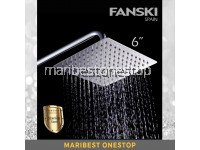 6 Stainless Steel Shower Head Rainfall Shower Head Ultra Thin Large SQUARE SHOWER HEAD AND ARM