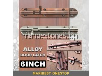6 Inch Long Bronze Silver Sliding Lock Door Latch Door Window Latch Bolt Barrel Gate Safety Lock Kunci Pintu Tingkap
