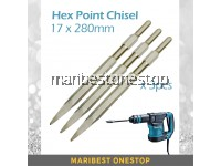 3PCS 17MM x 280MM Heavy Duty Hex Chisel Point Makita Chisel 0810