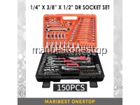 SATAGOOD G-10001 150PCS 1/4 x 3/8 x 1/2 Dr Socket Ratchet Combination Spanner Wrench Set Repair Tool Kit