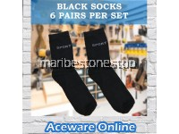 BLACK SOCKS 6PAIRS PER SET FOR WORK CASUAL SPORTS CREW LENGTH SOCKS COMFORTABLE AND SOFT QUICK DRY BREATHABLE