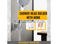 Hand Shower Head Holder Self Adhesive Bracket Bathroom Adjustable Waterproof Wall Mounted Base Easy Installation