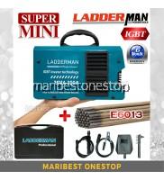 LADDERMAN MMA-300A/LT MINI INVERTER WELDING MACHINE ARC WELDING WITH E6013 WELDING ROD ELECTRODES