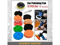 12 Pcs 5'' 125mm Waves Buffer Compound Waxing Polishing Pad Set For Car Polisher Sponge Kit with Drill Adapter Kit Set Vehicle Wash