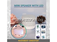 086 WHITE Hot Colorful LED Light Mini Speaker Mobile Phone MP3 Support USB / AUX / TF Card / FM