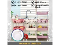 3 / 4 Tier Multi-functional Layer Plastic Storage Trolley Rack Kitchen Living Shelf Bathroom Rack With Wheel