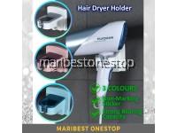 3 Colours Wall Mounted Hair Dryer Holder Self Adhesive Hair Blower Holder Hook Bathroom Pemegang Blower Rambut