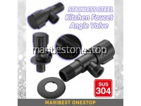 SUS304 STAINLESS STEEL BLACK KITCHEN BATHROOM FAUCET ANGLE VALVE G1/2 THREAD WATER CONTROL