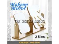 Wooden Makeup Mirror 360° Degrees Rotating Wooden Mirror Desktop Mirror Adjustable Angle Portable Mirror