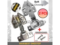 """2PCS 5/8"""" Cabinet Hinge Soft Close Opening Concealed Door Hinges 90 Degree Automatic Hydraulic Damper Engsel Kabinet"""