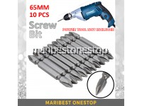 10PCS 65MM PH2 Head Screw Bit for Screw Driving for Power Tools Driver Drill S2 Double Cross-Shaped End Non Magnetic