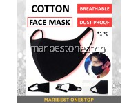 [READY STOCK] 1PC BLACK COTTON FACE MASK WASHABLE DUST-PROOF BREATHABLE