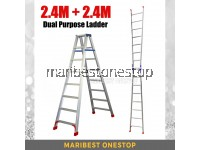 (2.4M + 2.4M) 4.8M 15 Step Multifunctional Dual Purpose Two Way Aluminium Ladder