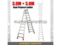 (3.0M + 3.0M) 6.0M 19 Step Multifunctional Dual Purpose Two Way Aluminium Ladder