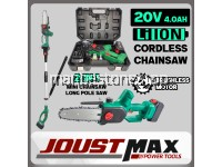 CSP209 20V Li-Ion 2 In 1 Cordless Mini Chainsaw Or Cordless Pole Saw Brushless Motor For Cutting Tree Branch Wood