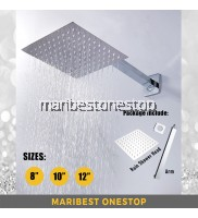 "[SET] AT-201200/250/300 SET SQUARE RAINFALL SHOWER HEAD 8""/10""/12"" WITH ARM STAINLESS STEEL ULTRA THIN LARGE WALL MOUNTED"