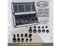 10PCS [ 9MM-19MM ] BOLT NUT SCREW REMOVER EXTRACTOR REMOVAL SET WITH CASE THREADING HAND TOOLS