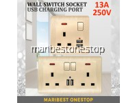 1 GANG / 2 GANG USB WALL SWITCH SOCKET 13A 250V 3 Pin 2 USB