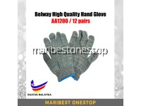 AA1200 12 Pairs Per Bundle High Quality Cotton Gloves Belway 1200# AA1200 Knitted Hand Gloves Sarung Tangan Kain Glove 1KG
