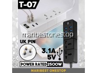 (RANDOM COLOR) TD-T07 Portable Universal 1.8M 2 Socket Outlet 2500W With 4 USB Ports 5v 3.1A US Pin UK Pin