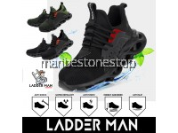 LDM-478 BLACK / GREEN LADDERMAN SAFETY SHOES SAFETY BOOTS WORK SHOES BREATHABLE ANTI-SLIP REFLECTIVE DESIGN PROTECTIVE STEEL TOE CAP