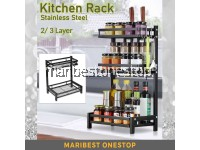 3/ 2 LAYER SEASONING RACK 304 Stainless Steel Kitchen Shelves Rack Organizer Space Saving Spices Bottle Storage