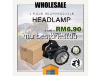 WHOLESALE 1 CARTON 120 UNITS 2 Mode USB Rechargeable High Power Glare LED Headlight Headlamp
