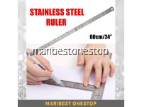 60cm (24 inch) 30cm (12 inch) Stainless Steel Double Side Straight Ruler Centimeter Inches Scale Metric Measuring Tool