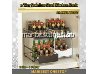 2 Tier Space Saving Kitchen Top Storage Rack With Pull Out Drawer Design 2 Size Sliding Cabinet Basket Organizer Countertop Pantry
