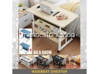 60 X 40CM MULTIFUNCTIONAL FLEXIBLE LIFTING LAPTOP TABLE BEDSIDE TABLE COMPUTER DESK HEIGHT ADJUSTABLE WITH LOCKABLE WHEEL