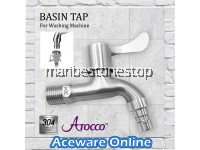 AT-666666SS BIB TAP 304 Stainless Steel Washing Machine Adapter Connector Bathroom Faucet Wall Mounted