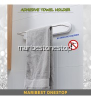 ADHESIVE TOWEL HOLDER Plastic Self-adhesive Roll Towel Shelf Wall Mounted Bathroom Frame Nail Free Multipurpose
